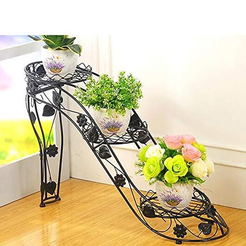 Khkfg Support de fleurs multicouche en fer forgé balcon intérieur et extérieur du salon balcon à talons hauts (Couleur : NOIR, taille : M)