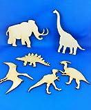 1x Dinosaurier Set 6 Dino Holz Tier Basteln Malen Dekoration Wohnen Aufhängen