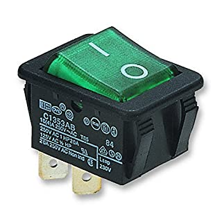SWITCH, DPST, 16A, 250V, ILLUM GREEN C1353AB0/1GRN By ARCOLECTRIC