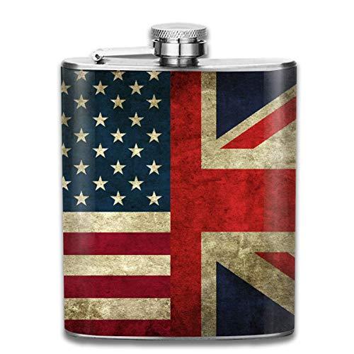 USA UK Flag Edelstahl 7 Unzen Flachmann