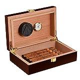 Volenx Zigarren Humidor, Tragbarer Reise Humidor in Dunkelbraun mit Hygrometer für 5-10 Zigarren
