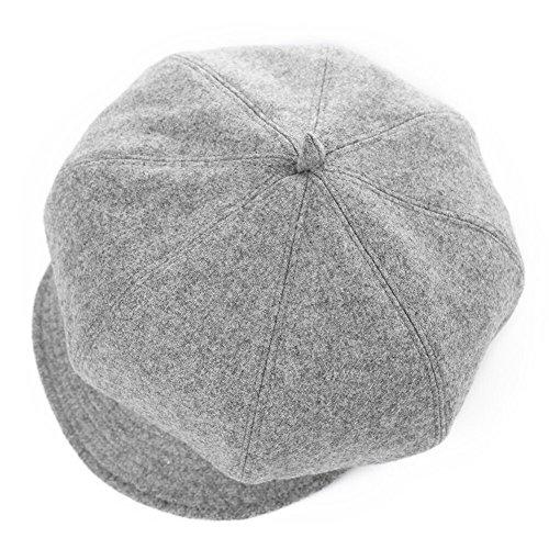 Damen warme Ballonmütze Schirmmütze Winter Wolle Bakerboy Mütze Frauen SIGGI Grau