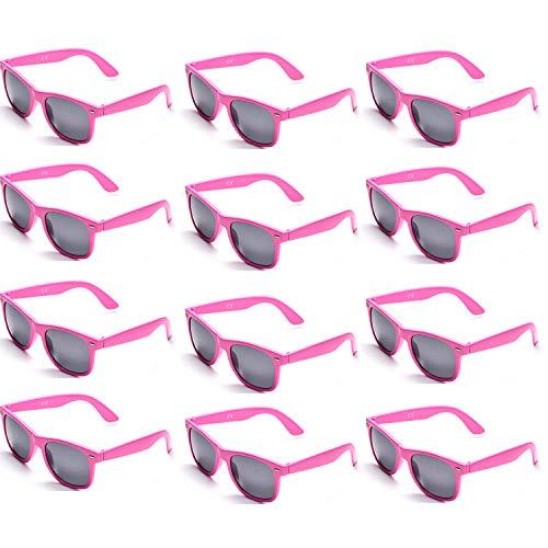 OAONNEA 12 Paare Lustige Neon Party Sonnenbrillen Set fur Kinder Damen Sommer 80er Uv400 (12Rosa)