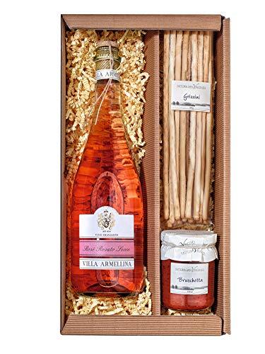 Italienischer Präsent Geschenk-Korb / Gourmet Spezialitäten Delikatessen Set mit Prosecco Rosé Rosato Secco, Grissini und Bruschetta (Geschenke Italienische Lebensmittel,)