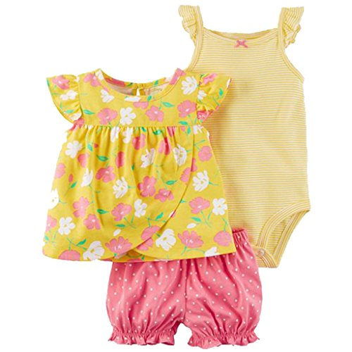 Baby Mädchen 3 Stück Bekleidungsset, Kurzarm-Kleid + Shorts + Body Set, 6-9 Monate - Baby Sommer Kleidung
