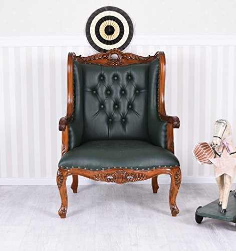 Ohrensessel Chesterfield Ohrenbacken Sessel Mahagoni Kaminsessel Leder Palazzo Exklusiv