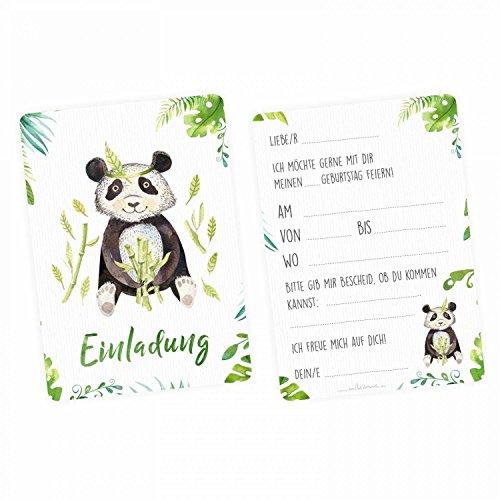 nikima Schönes für Kinder - 5 Einladungskarten Panda Dschungel Grün inkl. 5 Transparenten Briefumschlägen Kinder Geburtstag Mädchen Junge Einladung Feier Aquarell Dschungel Tier … (Einladungen Safari-geburtstags-party)