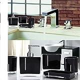 Luxus 4 Sets Acryl Badezimmer Zubehör Set Diamant besetzt Dekoration Set … (Schwarz, Diamant)