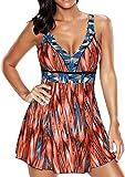 EUDOLAH Damen Paisley Muster Bunt Badeanzüge Figurformender Badekleid mit Röckchen Einteiler Badeshorts (4XL(EU46/48), Rot Orange)