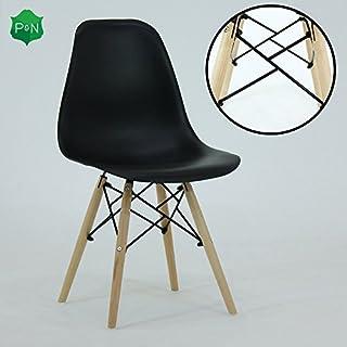 Pu0026N Homewares Romano DS Moda Stuhl Kunststoff Holz Retro Esszimmer Stühle  Weiß Schwarz Grau Rot Gelb