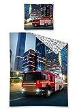 2-tlg Jugend Bettwäsche Feuerwehrauto 140x200 cm + 70x80 cm 100% Baumwolle