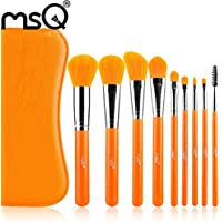 Make Up Brush, lanowo 9pcs Artificiale avanzata cavo a arancione capelli sintetici Professionale Trucco Spazzola Set con Pu Borsa