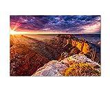 120x80cm - Fotodruck auf Leinwand und Rahmen Grand Canyon Berge Abendrot Wolken - Leinwandbild auf Keilrahmen modern stilvoll - Bilder und Dekoration