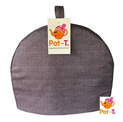 Pot-T Isolierter Teewärmer Cozy in Heather Leinen Textur Look (Maxi (31,5 (H) X 10 cm (D) X 26 cm (D)) -