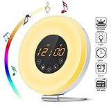 Lichtwecker, Wake Up Light Wecker LED Lichtwecker Touch-Steuerung Wecktöne Nachtlicht mit Schlummerfunktion, Digitales FM Radiowecker, 7 Farblicht, 6 Naturklänge, 10 Helligkeitsstufe