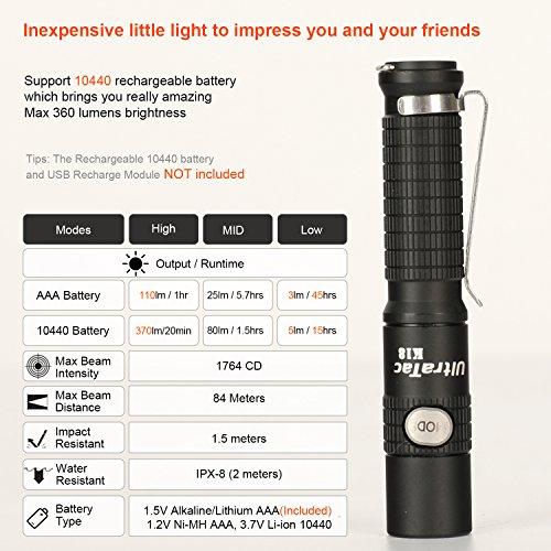 ultratac k18 mini taschenlampe taktische taschenlampe. Black Bedroom Furniture Sets. Home Design Ideas