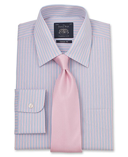 Savile Row Men's Blue Pink White Stripe Classic Fit Shirt - Single Cuff Blue Pink White