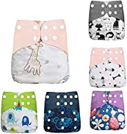 Baby Cloth Diapers Pack of 6 Adjustable Washable Resuable 2-Layer Design Strong Absorbtion Soft Diaper Pads Co