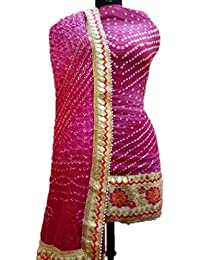 NS Creation Women's Art Silk Bandhini Gota Patti Daaman Border Suit With Same Work Border In Crep Bottom (SN-176...