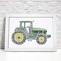 Personalised Farm Tractor Word Art Print - A5, A4 Prints & Framed