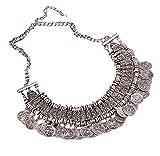 DELEY Ethno Boho Retro Antik Ton Legierung Münzen Chunky Bib Statement Choker Necklace Silber