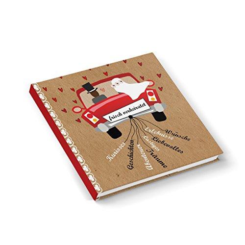 Libro degli ospiti per matrimonio, nero, bianco, rosso, coppia di sposi, regalo di nozze, taccuino diario quadrato 21 cm x 21 cm da far firmare agli ospiti, per ricordare i bei momenti