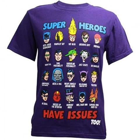 DC Comics T-shirt pour homme Motif Super héros ont des problèmes. - Violet - Medium