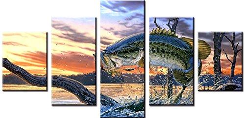 Wowdecor Art Wand 5teilig Leinwand Drucke mehrere Bilder-Fisch Sunset Seascape Art Bilder Gemälde auf Leinwand gedruckt, Poster Wand Decor Geschenk, ungerahmt, Large