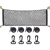 Red de carga de nailon de Sicai con 4 ganchos; ideal para organizar y almacenar el equipaje para vehículo todo terreno, caja de camioneta o maletero; color negro