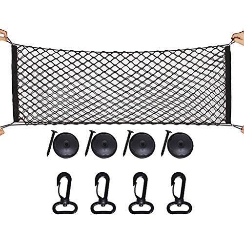 Sicai Cargo-Nylon-Netz mit 4 Haken, für den Kofferraum. Universales Cargo-Netz aus elastischem Nylon, für Ordnung im Stauraum, Auto-Netz für Kinder, Gepäck, SUV, LKW-Bett oder Kofferraum, schwarz.