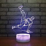 Lampe De Nuit,Hip-Hop Dancer 3D Illusion Lampe rupture Street Dance LED 7 Capteur Tactile Couleur Actionné USB Cadeaux Pour garçons musique Lampe de bureau