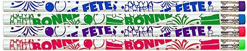 (Partei-Beutel-Packung mit 36 Stück HB Bleistifte - 4 verschiedenen Farben Bonne Party (Happy Bday auf Französisch) Themen mit Radiergummi auf der Oberseite aus USA)