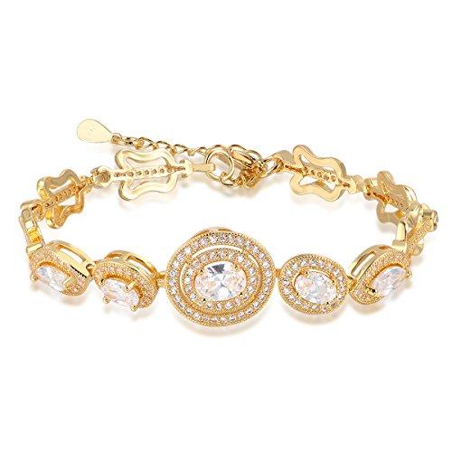 Oven Moda Catena d'oro regalo di giorno di nozze gioielli di cristalli Swarovski Elements placcato il braccialetto di fascino braccialetto per le donne-19CM signore White Diamond