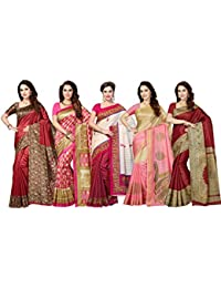Ishin Combo of 5 Poly Silk Multicolor Printed Women's Saree with Blouse Piece