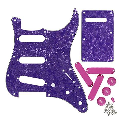 Zurück Assembly (FLEOR Gitarre SSS Schlagschutz zurück Teller-Set mit 50mm geschlossen Pickup umfasst 2t1V-Control Regler Gitarre Teil für Strat Gitarre 4 ply, Purple Pearl)