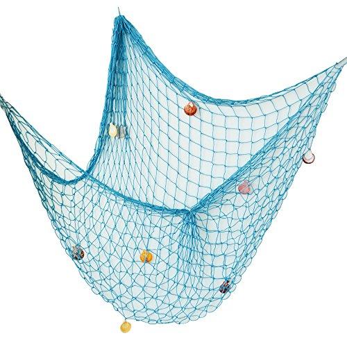 Fisch Blaue Kostüm - AONER 150 * 200cm Fischernetz Dekoration mit Muscheln Dekonetz zum Aufhängen Fischnetz Deko Maritime Deko Netze Hintergrund Schlafzimmer Wohnzimmer Kinderzimmer Wand Deko (Hellblau)