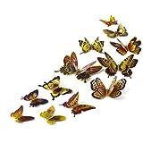 Transwen Wandaufkleber, 1 Paket von 12 Bunten Doppel Schmetterling 3D Simulation Doppel Schmetterling für Schlafzimmer Wohnzimmer Kinderzimmer Geschenk Hochzeit Party Deco (Mehrfarbig)