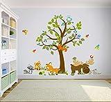 Wandtattoo kinder Babyzimmer Aufkleber Eule Eulen Tiere Wandsticker Wand Waldtiere Kinderzimmer Wandaufkleber Dekoration fürs Baby Kindergarten Baum XXL 232 cm x 181 cm