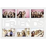 """Hama Collage Bilderrahmen für Fotocollagen """"Budapest - Friends"""" (Fotorahmen mit Friends-Schriftzug für 6 Fotos im Format 10x15, Kunststoff-Rahmen, Kunststoff) Fotogalerie Weiß"""
