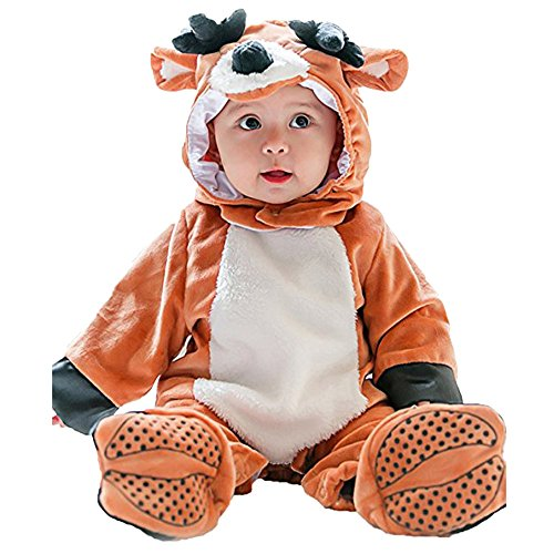 Lazzboy Karneval Baby Halloween Rentier Tierkostüm mit Kapuze Body Footies Strampler Outfit(Höhe 80,Braun)