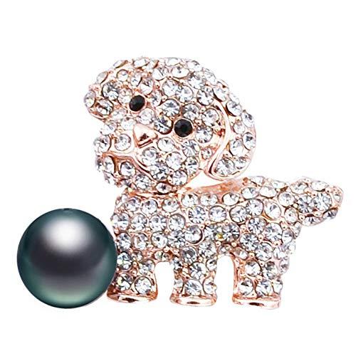 HUNANANA Niedlichen Strass Hund Broschen Kleine Tier Design Frauen Brosche Modeschmuck 2 Farben Erhältlich Hochwertiges Geschenk