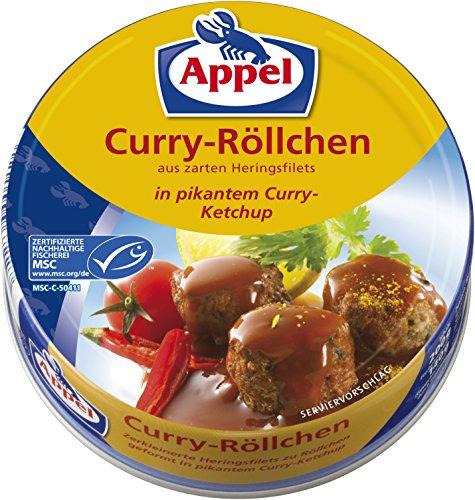 Preisvergleich Produktbild Appel Curry-Röllchen,  aus zerkleinerten Heringsfilets in pikantem Curry-Ketchup,  MSC zertifiziert,  200 g