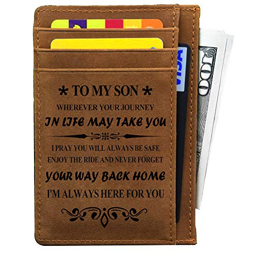 LEVONTA My Son Gifts From Mother and Dad for Birthday Graduation Vatertag Christmas Gift Ideas Engraved Leather Card Holder for Son - Braun - Einheitsgröße
