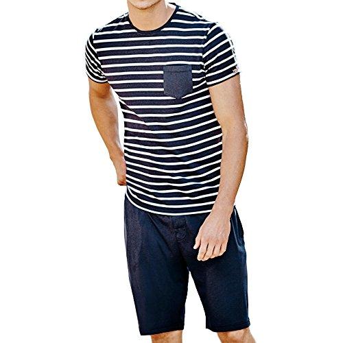 Cotton Knit Pyjama (Jockey® Pyjama 1/2 Knit, Navy, Größe M)