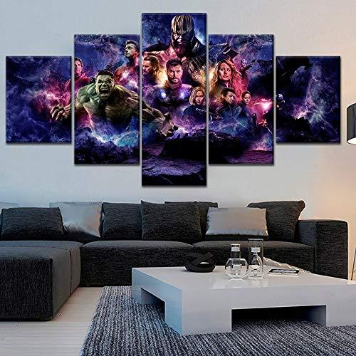 JSBVM Wandkunst HD gedruckt Bild Haus Dekoration 5 Panel Film Avengers Endgame Hero Charakter Für Wohnzimmer Modern ()