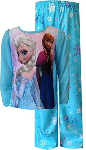 Gefrorene Prinzessinnen Anna und Elsa Blau Langarm M?dchen Pyjama Set (Disney Langarm-pyjamas Prinzessinnen)