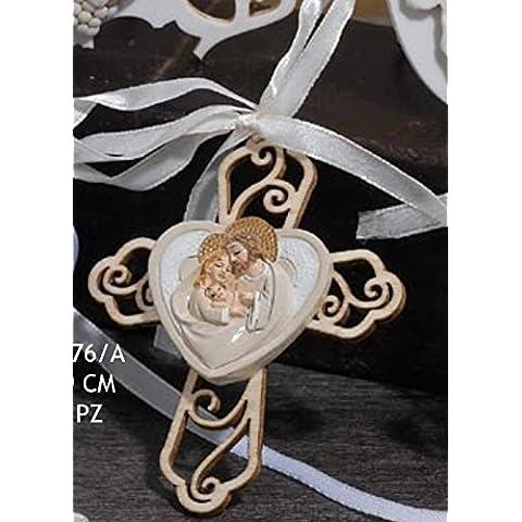 Croce con cuore sacra famiglia Applicazione BOMBONIERA COMUNIONE CRESIMA