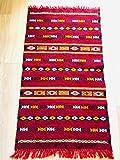 Moroccanity Tapis marocain Authentique Fait Main brodé Kilim 100% Laine Rouge/Noir/Blanc/Orange 1,20 x 0,70 m...