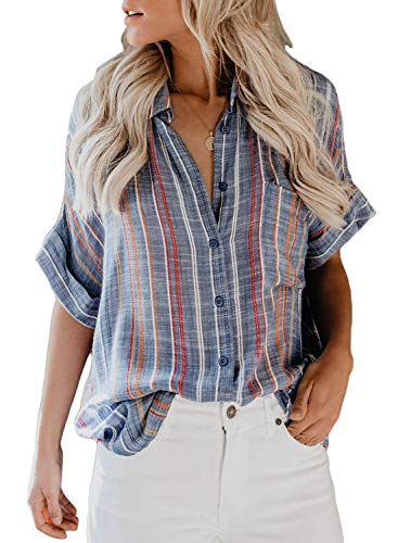 Dokotoo Damen Shirt V-Neck Striped Kurze Ärmel Spleiß Bluse Gestreift Damen Tragen Tops Blau XL(EU48-EU50) -