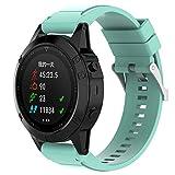 peibo SW324Silicagel correa de banda de instalación rápida de repuesto para Garmin Fenix 5x GPS reloj con 2pc herramienta, color azul celeste